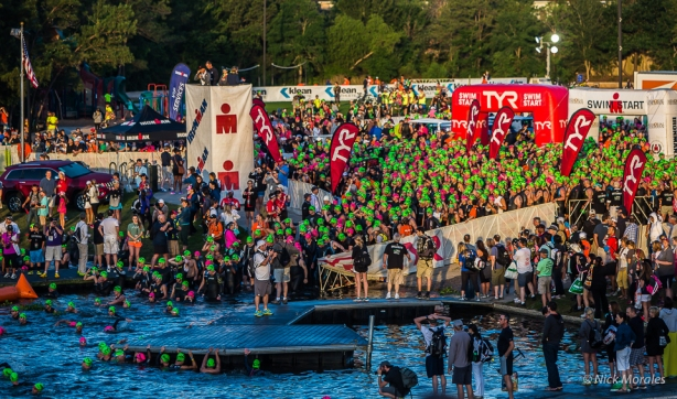 Entering the Water at Ironman Texas